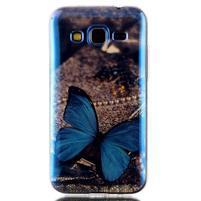 Bluray gelový obal s odlesky na Samsung Galaxy Core Prime - modrý motýl