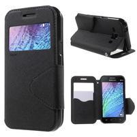 PU kožené pouzdro s okýnkem Samsung Galaxy J1 - černé