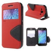 PU kožené pouzdro s okýnkem Samsung Galaxy J1 - červené/černé