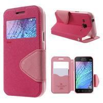 PU kožené pouzdro s okýnkem Samsung Galaxy J1 - rose/růžové