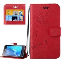 Magicfly PU kožené pouzdro na mobil Samsung Galaxy J1 (2016) - červené