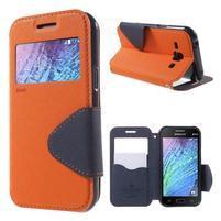 PU kožené pouzdro s okýnkem Samsung Galaxy J1 - oranžové/tmavě modré