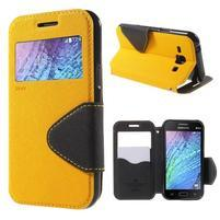 PU kožené pouzdro s okýnkem Samsung Galaxy J1 - žluté/černé