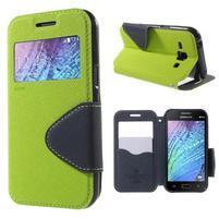 PU kožené pouzdro s okýnkem Samsung Galaxy J1 - zelené/tmavě modré