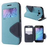 PU kožené pouzdro s okýnkem Samsung Galaxy J1 - světle modré/tmavě modré