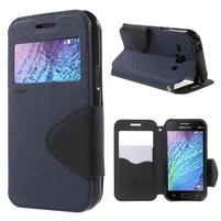 PU kožené pouzdro s okýnkem Samsung Galaxy J1 - tmavě modré/černé