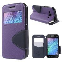 PU kožené pouzdro s okýnkem Samsung Galaxy J1 - fialové/tmavě modré