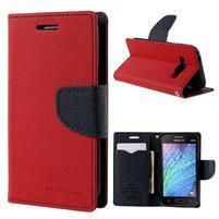 Červené/tmavě modré PU kožené pouzdro na Samsung Galaxy J1