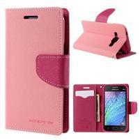 Růžové/rose PU kožené pouzdro na Samsung Galaxy J1