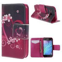 Zapínací pouzdro pro Samsung Galaxy J1 - květinové srdce