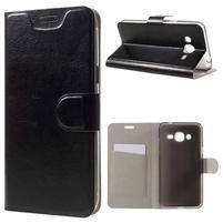 Horse PU kožené penženkové pouzdro na Samsung Galaxy J3 (2016) - černé