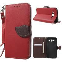 Leaf peněženkové pouzdro na Samsung Galaxy J5 - červené