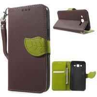 Leaf peněženkové pouzdro na Samsung Galaxy J5 - hnědé