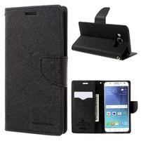 Diary PU kožené pouzdro na mobil Samsung Galaxy J5 (2016) - černé
