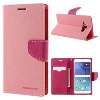 Diary PU kožené pouzdro na mobil Samsung Galaxy J5 (2016) - růžové