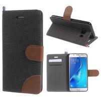 Denim peněženkové pouzdro na Samsung Galaxy J5 (2016) - černé