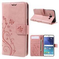 Butterfly PU kožené pouzdro na mobil Samsung Galaxy J5 (2016) - růžové