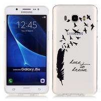 Průhledný obal na mobil Samsung Galaxy J5 (2016) - ptačí pírka
