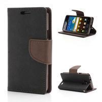Diary PU kožené pouzdro na mobil Samsung Galaxy S2 - černé/hnědé