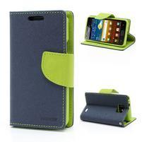Diary PU kožené pouzdro na mobil Samsung Galaxy S2 - tmavěmodré