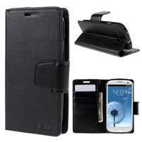Diary PU kožené pouzdro na mobil Samsung Galaxy S3 - černé