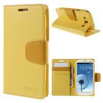 Diary PU kožené pouzdro na mobil Samsung Galaxy S3 - žluté