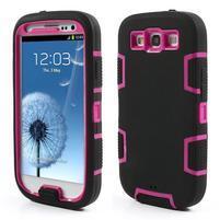 Odolné silikonové pouzdro na mobil Samsung Galaxy S3 - černé/rose
