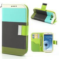 Tricolors PU kožené pouzdro na mobil Samsung Galaxy S3 - černý střed