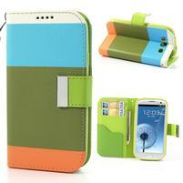 Tricolors PU kožené pouzdro na mobil Samsung Galaxy S3 - zelený střed