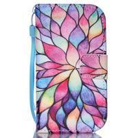 Knížkové PU kožené pouzdro na Samsung Galaxy S3 mini - barevné květy