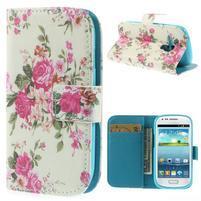 Knížkové pouzdro na mobil Samsung Galaxy S3 mini - květinová koláž
