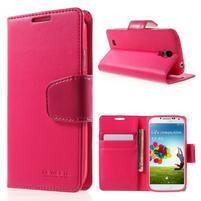 Diary PU kožené pouzdro na mobil Samsung Galaxy S4 - rose