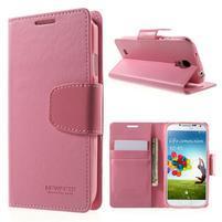 Diary PU kožené pouzdro na mobil Samsung Galaxy S4 - růžové