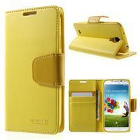 Diary PU kožené pouzdro na mobil Samsung Galaxy S4 - žluté
