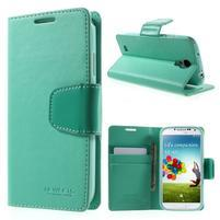 Diary PU kožené pouzdro na mobil Samsung Galaxy S4 - azurové