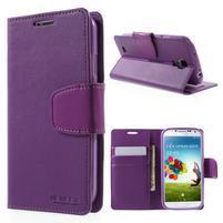 Diary PU kožené pouzdro na mobil Samsung Galaxy S4 - fialové