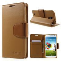 Diary PU kožené pouzdro na mobil Samsung Galaxy S4 - hnědé