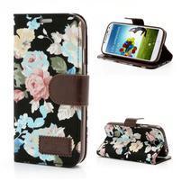 Květinové pouzdro na mobil Samsung Galaxy S4 - černé pozadí