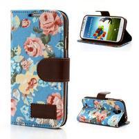 Květinové pouzdro na mobil Samsung Galaxy S4 - modré pozadí