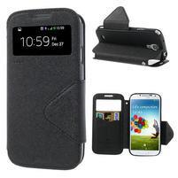Okýnkové peněženkové pouzdro na mobil Samsung Galaxy S4 - černé