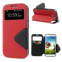 Okýnkové peněženkové pouzdro na mobil Samsung Galaxy S4 - červené