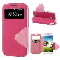 Okýnkové peněženkové pouzdro na mobil Samsung Galaxy S4 - rose