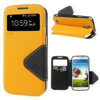 Okýnkové peněženkové pouzdro na mobil Samsung Galaxy S4 - žluté