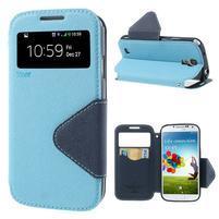 Okýnkové peněženkové pouzdro na mobil Samsung Galaxy S4 - světlemodré