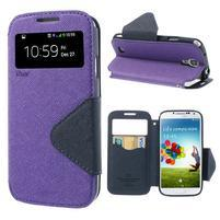Okýnkové peněženkové pouzdro na mobil Samsung Galaxy S4 - fialové