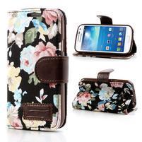 Květinkové pouzdro na mobil Samsung Galaxy S4 mini - černé pozadí