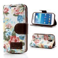 Květinkové pouzdro na mobil Samsung Galaxy S4 mini - bílé pozadí