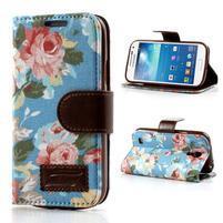 Květinkové pouzdro na mobil Samsung Galaxy S4 mini - modré pozadí