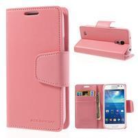 Sonata PU kožené pouzdro na mobil Samsung Galaxy S4 mini - růžové