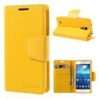 Sonata PU kožené pouzdro na mobil Samsung Galaxy S4 mini - žluté